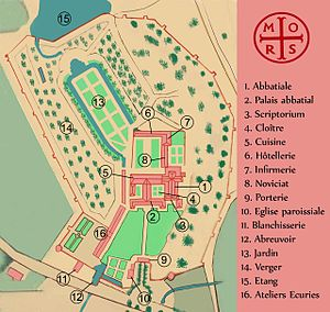 Morimond Abbey - Reproduction of a 1789 plan of the abbey