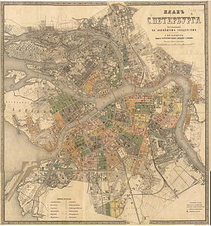 Timeline of Saint Petersburg - Map of St. Petersburg, 1880s
