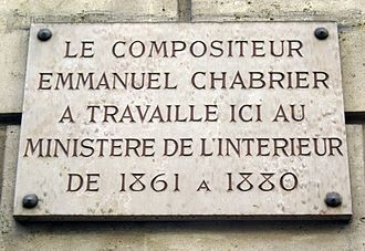 Emmanuel Chabrier - Plaque recording Chabrier's period at the French Interior Ministry