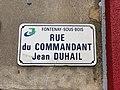 Plaque rue Commandant Jean Duhail Fontenay Bois 1.jpg