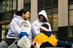 Troy Polamalu - Polamalu (left) and teammate Ryan Clark in the Steelers' Super Bowl XLIII victory parade in February 2009