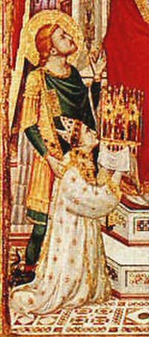 Droste effect - Detail from the 1320 Stefaneschi Triptych showing Cardinal Stefaneschi holding the triptych itself
