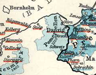 Teutonic takeover of Danzig (Gdańsk) - Pomerelia (Pommerellen) while part of the monastic state of the Teutonic Knights.