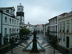 The center of the Baixa (Downtown) of Ponta Delgada, as seen from the city hall