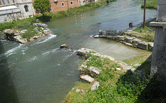 Via Salaria - Remains of the Roman bridge over Velino river in Rieti
