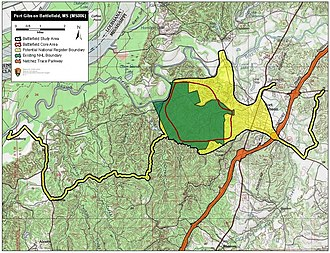 Battle of Port Gibson - Map of Port Gibson Battlefield core and study areas by the American Battlefield Protection Program.