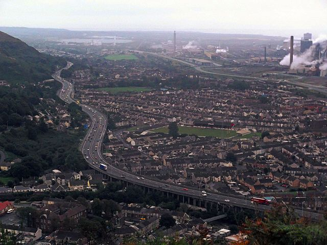 The M4 motorway at Port Talbot