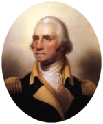 Color painting of a white-haired George Washington in a dark blue military uniform with gold epaulettes and white collar