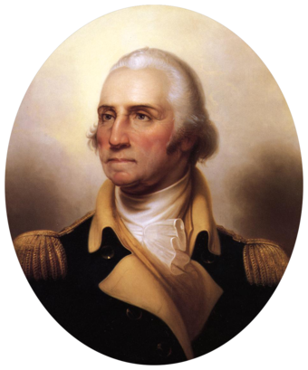 George Washington, leader of the American Revolution. Portrait of George Washington-transparent.png