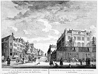 Jodenbuurt - The Portuguese Synagogue in the middle of the former Jodenbuurt in an engraving from the Fouquet-Atlas ( 1760-1783 ). Photo: bma.amsterdam.nl.
