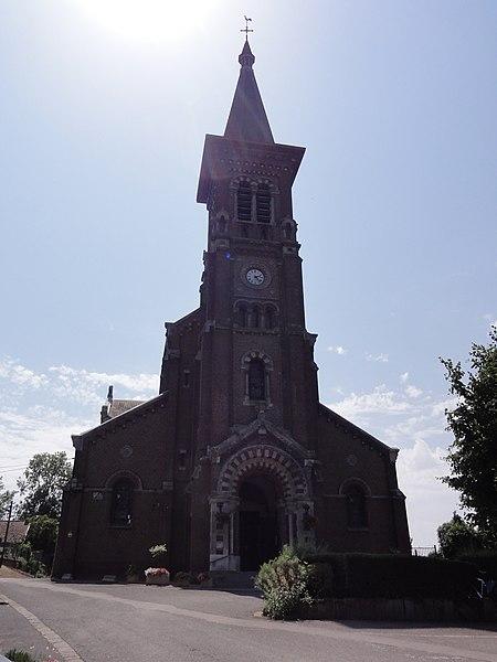 Préseau (Nord, Fr) église Ste Aldegonde, façade