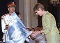 Pratibha Devisingh Patil presenting the Padma Bhushan Award to Shri Yuli Mikhailovich Vorontsov (Posthumous) received his daughter at Civil Investiture-II Ceremony, at Rashtrapati Bhavan, in New Delhi on May 10, 2008.jpg