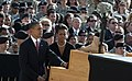 President Barack Obama and First Lady Michelle Obama pay their respects to a fallen soldier during a memorial service Nov. 10, 2009, at Fort Hood, Texas.jpg