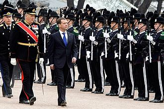Foot guards - Harald V, the King of Norway, inspects the Hans Majestet Kongens Garde with Dmitry Medvedev. The unit acts as foot guards for the Norwegian Army.