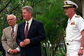 President William Jefferson Clinton arrives at Admiral's Landing along with Secretary of Defense Les Aspin, left, and Adm. Charles R. Larson, right, as the three prepare to visit the Arizona Memorial.jpg