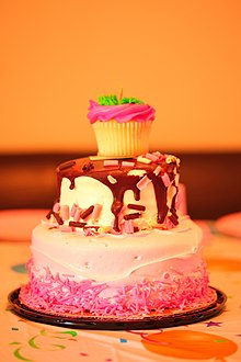 Pretty Pink Chocolate 3 Tiered Birthday Party Cake (4824140888).jpg