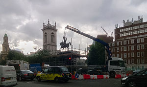Holborn Circus - Statue of Prince Albert being removed for renovation July 2013