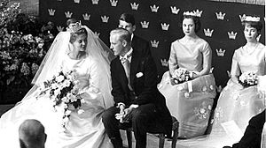 Princess Benedikte of Denmark - Princess Benedikte as a bridesmaid at the 1962 wedding of Princess Birgitta of Sweden and Prince Johann Georg of Hohenzollern.