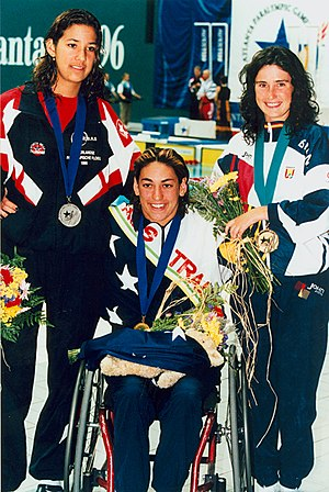 1996 Summer Paralympics - Image: Priya Cooper and minor medallists 200 IM