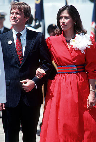 Marilyn Quayle - Senator Dan Quayle (R-IN) and his wife Marilyn attend the launching ceremony for the Aegis guided missile cruiser USS Vincennes (CG-49) at Ingalls Shipbuilding Corp in 1984.