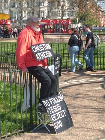 Christian atheist ? Man in Hyde Park, London.
