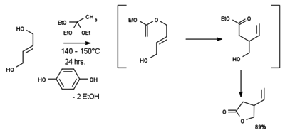 vinyl lactone synthesis from trans-2-butene-1,4-diol and ethyl orthoacetate