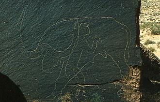 Rock art of south Oran (Algeria) - R'cheg Dirhem, hartebeest and human.