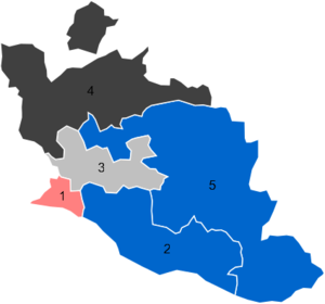 Vaucluse's 3rd constituency - Results in the Vaucluse's five constituencies in 2012 : pink (PS), blue (UMP), grey (FN), black (League of South)