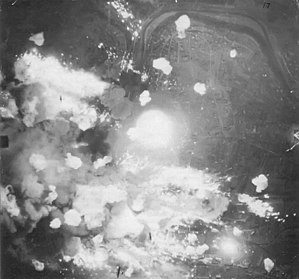 RAF Bomber Command - A photograph taken during a typical RAF night attack with Avro Lancasters far below