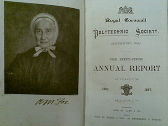 Royal Cornwall Polytechnic Society - 1897 Annual Report with portrait of Anna Maria Fox