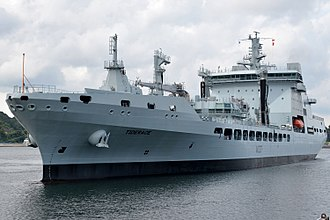 Royal Fleet Auxiliary - Image: RFA Tiderace arrives at Fleet Activities Yokosuka for a scheduled port visit in August 2017