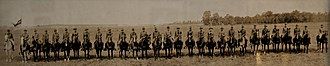 Fort Ethan Allen - A row of ROTC Cavalry at the fort in 1931