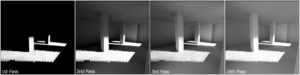 Radiosity (computer graphics) - As the algorithm iterates, light can be seen to flow into the scene, as multiple bounces are computed. Individual patches are visible as squares on the walls and floor.
