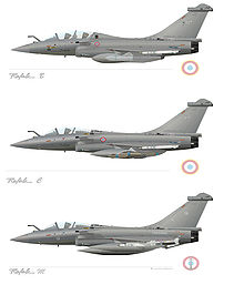 Profili delle versioni del Rafale.