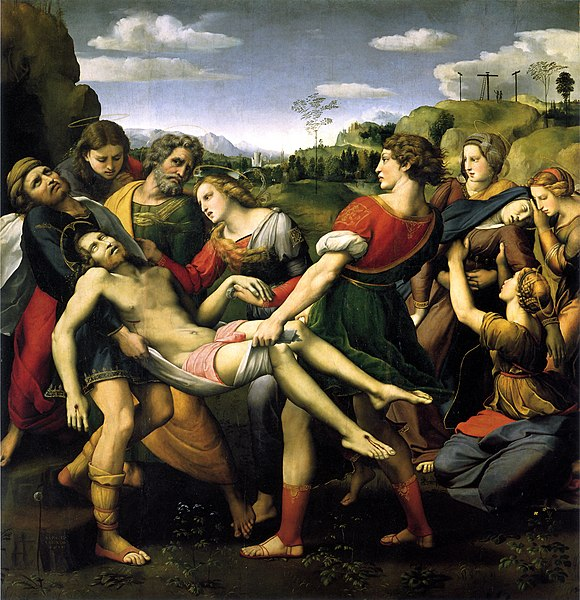 The Deposition (1507) by Raphael, showing a distressed, reddish-blond-haired Mary Magdalene dressed in fine clothes clutching the hand of Jesus's body as he is carried to the tomb Raffaello, pala baglioni, deposizione.jpg