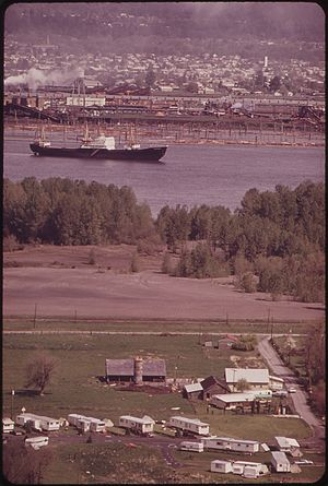 Rainier, Oregon - View across the Columbia River in 1973