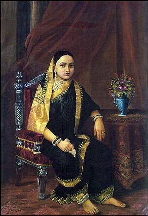 Sayajirao Gaekwad III - Maharani Chimanbai by Raja Ravi Varma