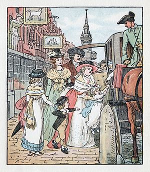 Frederick Warne - One of the illustration by Randolph Caldecott in The Diverting History of John Gilpin, published by Frederick Warne (1878).