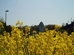 Hedeskoga church behind a field of rapeseed.
