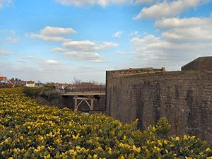 Eastbourne Redoubt - View of the redoubt from the glacis, showing the ditch and the reconstructed drop bridge.