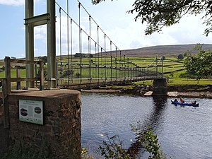 Reeth - Swing bridge at Reeth built in 1920 was demolished by an uprooted tree in 2000. What stands now is a replica, opened in 2002
