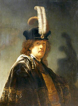 National Trust for Places of Historic Interest or Natural Beauty - The Rembrandt self-portrait at Buckland Abbey, painted 1635, formally attributed to him in March 2013