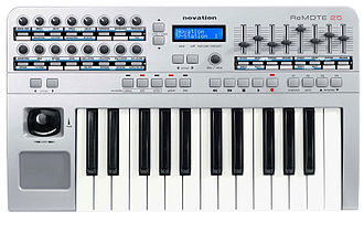 MIDI - Two-octave MIDI controllers are popular for use with laptop computers, due to their portability. This unit provides a variety of real-time controllers, which can manipulate various sound design parameters of computer-based or standalone hardware instruments, effects, mixers and recording devices.