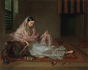 History of cotton - A woman in Dhaka clad in fine Bengali muslin, 18th century.