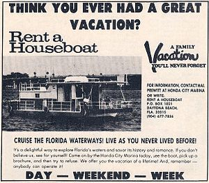 Hal Prewitt - Ranger Systems' 1972 ad for Rent A Houseboat
