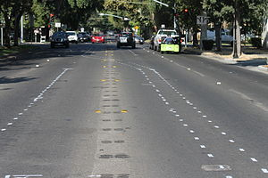 Complete streets - Four traffic lanes were changed into two traffic lanes plus bike lanes and left-turn lanes