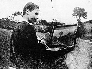En plein air - Robert Antoine Pinchon, 1898, painting Le chemin, oil on canvas, 22 x 32 cm