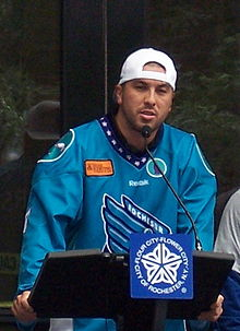 Rochester Knighthawks - 2012 - Joe Walters at city ceremony cropped.JPG