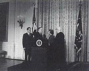 United States Secretary of Housing and Urban Development - George W. Romney was sworn in as Secretary of Housing and Urban Development on January 22, 1969, with President Richard Nixon in attendance.