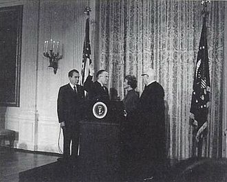 United States Secretary of Housing and Urban Development - George W. Romney was sworn in as Secretary of Housing and Urban Development on January 22, 1969, with President Richard Nixon in attendance.